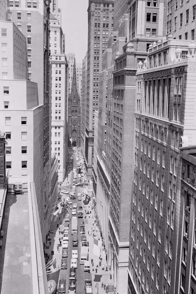 Stock Photo: 255-424364 USA, New York City, Wall Street, high angle view