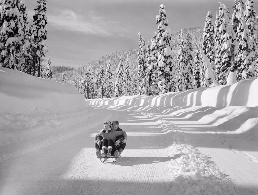 Stock Photo: 255-424544 Young couple riding sledge