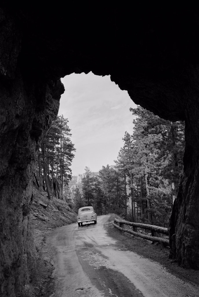 Stock Photo: 255-424738 USA, South Dakota, tunnel through, Black Hills at Mt. Rushmore