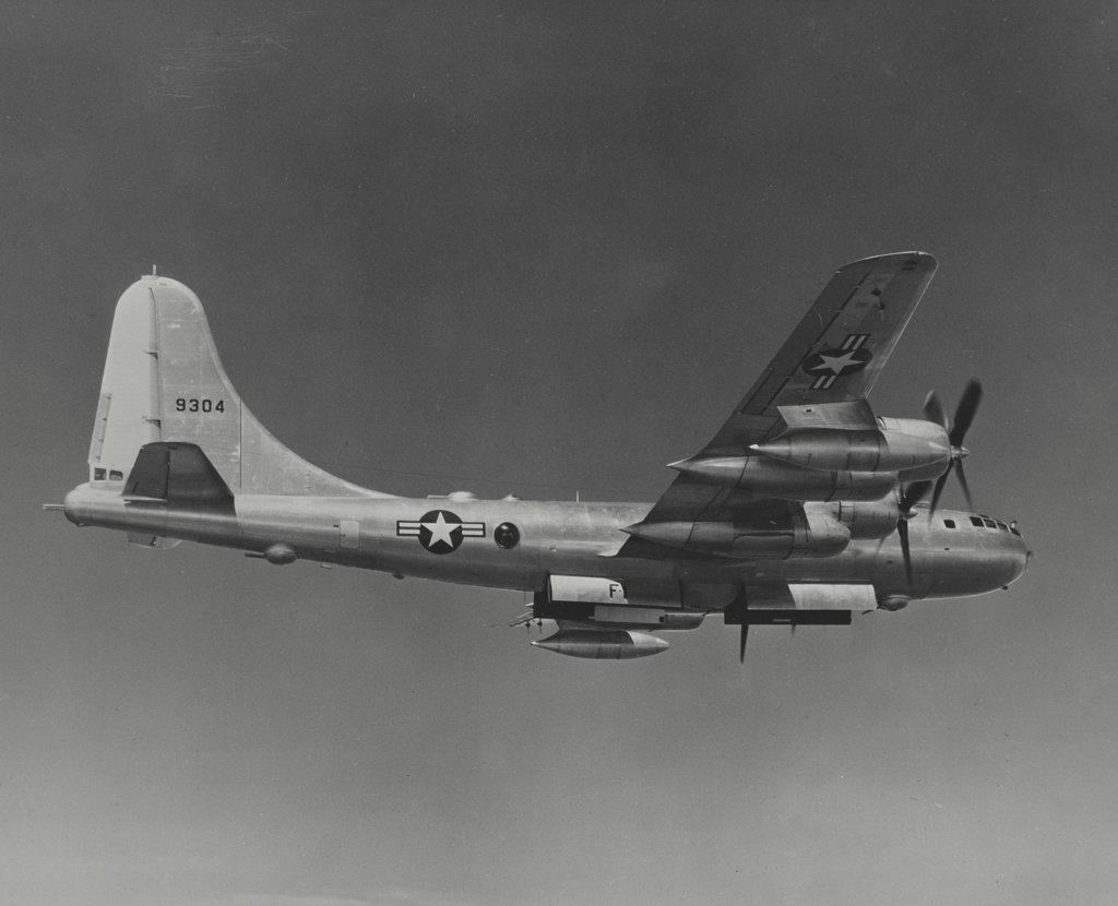 Stock Photo: 255-44051 Low angle view of a bomber plane in flight, B-50D Superfortress, US Air Force