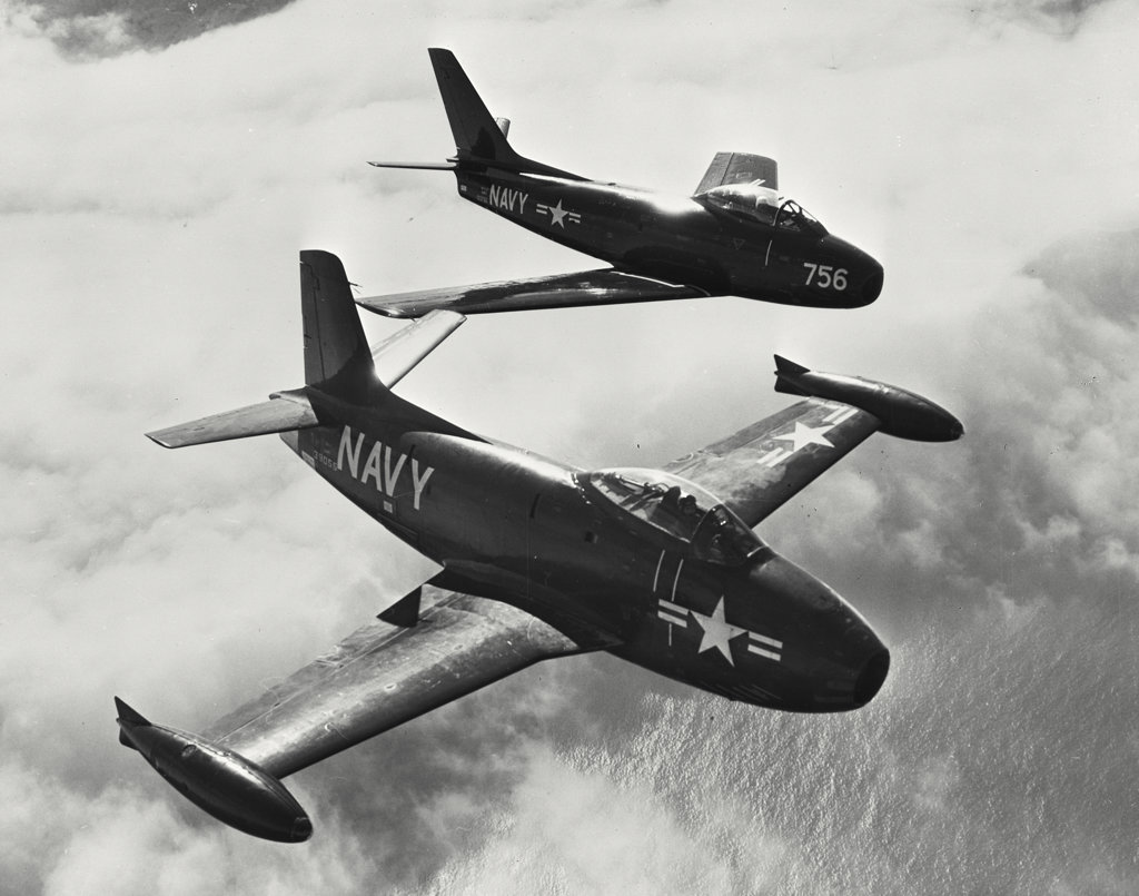 Stock Photo: 255-44063 High angle view of two fighter planes in flight