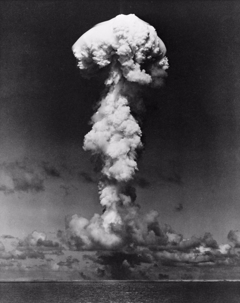 Stock Photo: 255-44188 Mushroom cloud formed by an atomic bomb explosion