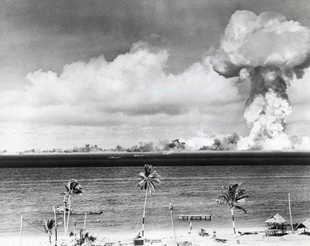 Bikini Atoll, Marshall Islands, Atomic bomb explosion, Able Day, July 1, 1946 : Stock Photo