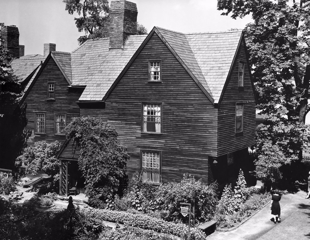 High angle view of a mansion, The House of the Seven Gables, Salem, Massachusetts, USA : Stock Photo