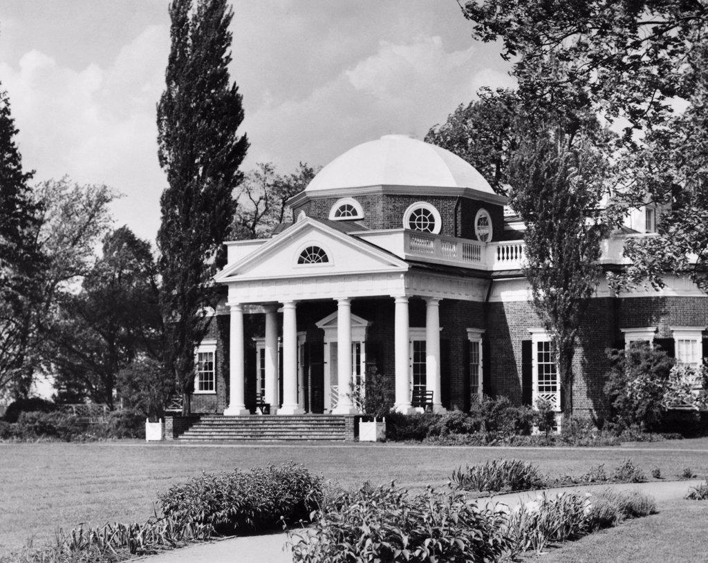 Facade of a house, Home of Thomas Jefferson, Monticello, Charlottesville, Virginia, USA : Stock Photo