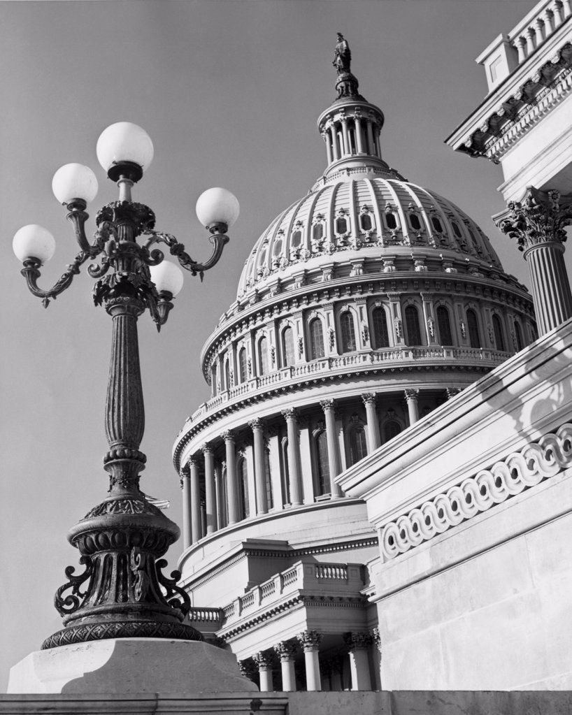 Stock Photo: 255-45653 Low angle view of a government building, Capitol Building, Washington DC, USA