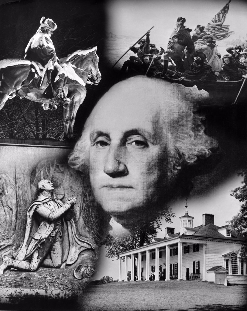 Stock Photo: 255-6494 George Washington's face superimposed over a montage of pictures depicting American history, USA