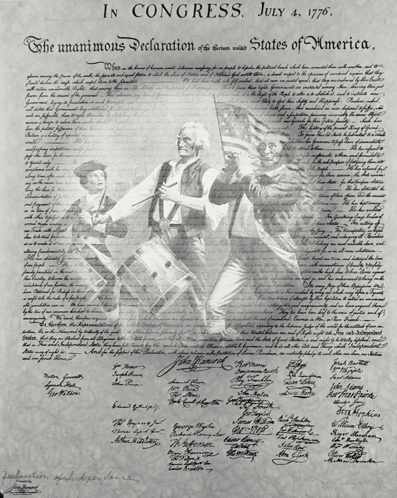 Stock Photo: 255-6518 Archibald M. Willard's Spirit of '76 superimposed on Declaration of Independence