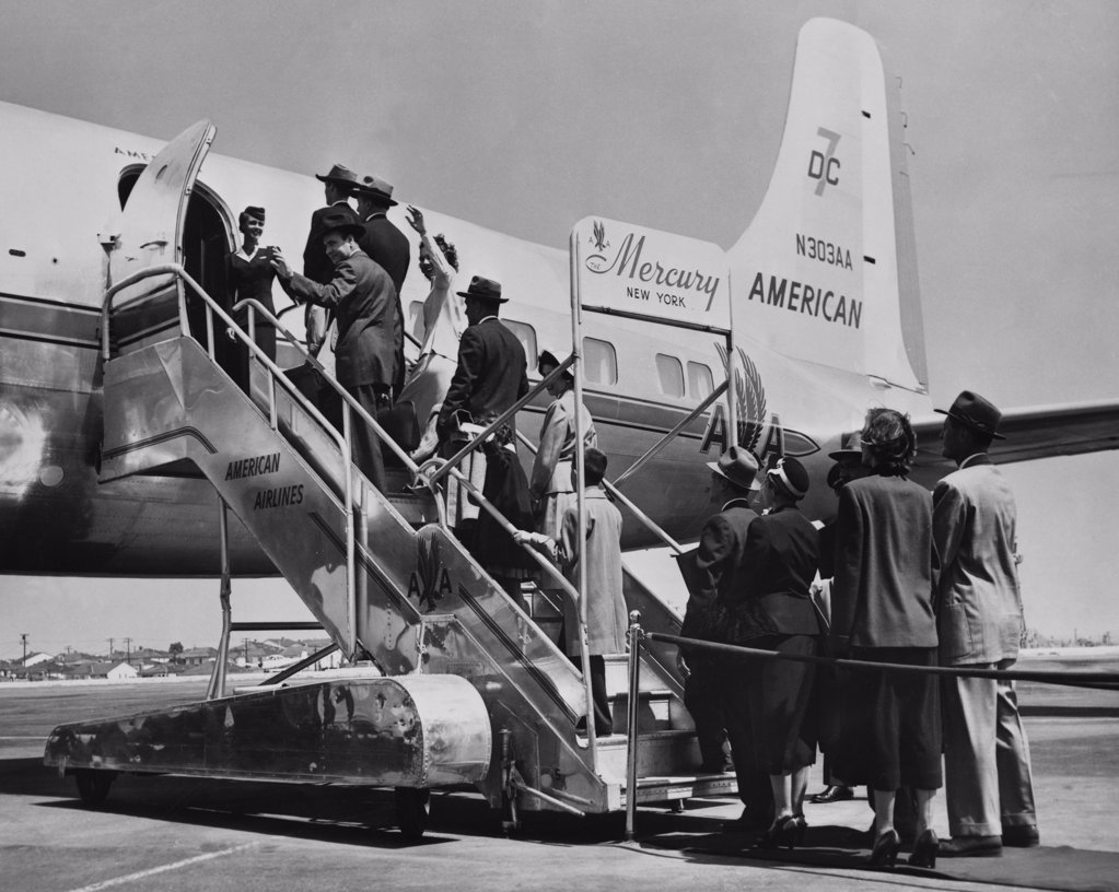 Stock Photo: 255-6878 Passengers boarding an airplane