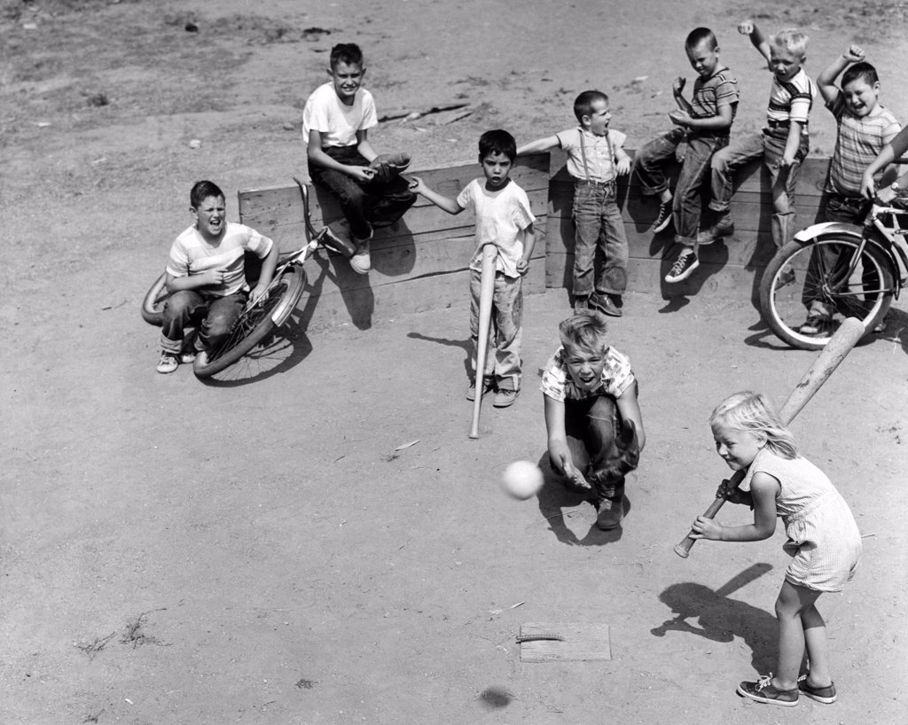 Group of children playing baseball : Stock Photo
