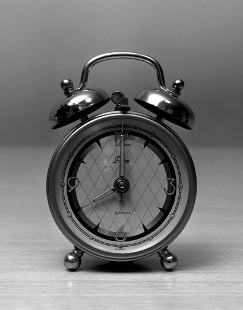 Stock Photo: 255-7669 Close up of vintage alarm clock