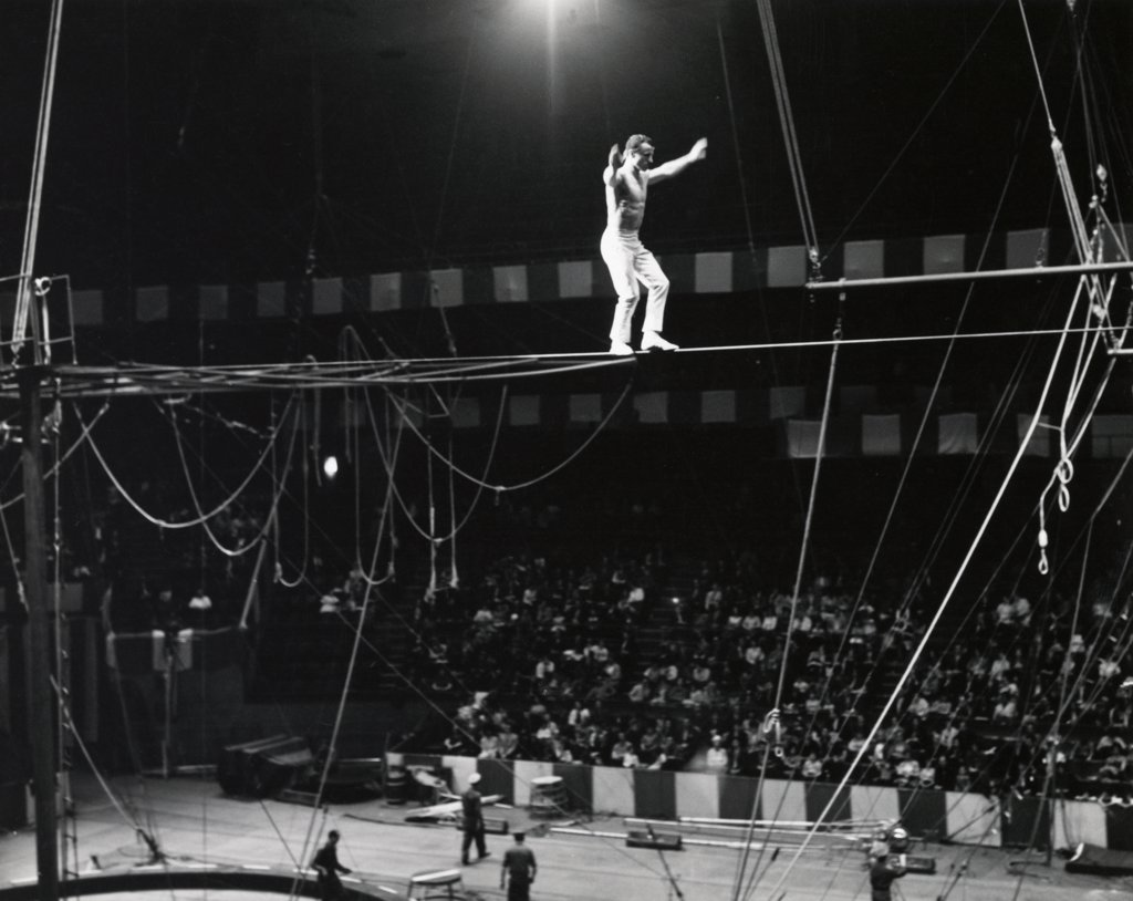 Stock Photo: 255-8108 Tightrope walker performing in a circus