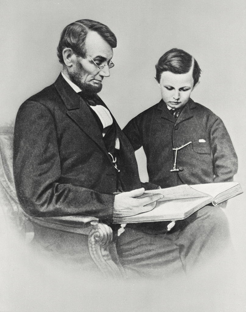 Stock Photo: 255-8629 Abraham Lincoln and son Tad February 9, 1864 Photography by Anthony Berger of Mathew Brady Studio