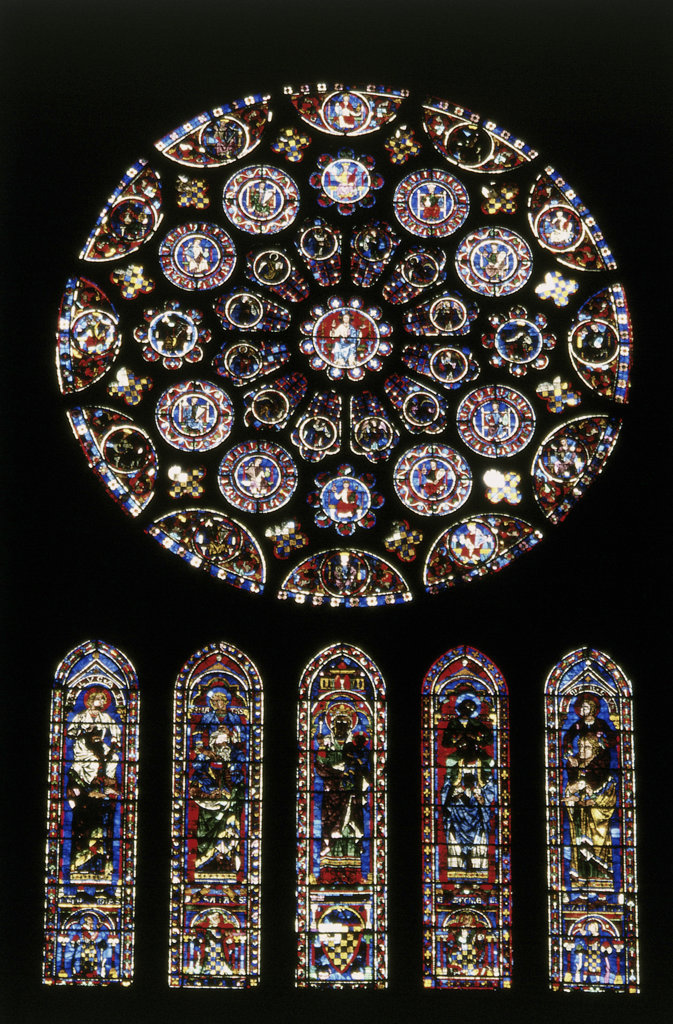 Stock Photo: 2574-613 Rose window of south facade of a cathedral, Chartres Cathedral, Chartres, France