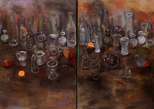 Stock Photo: 260-1028 Still life with bottles I by Jim Dine, born 1935