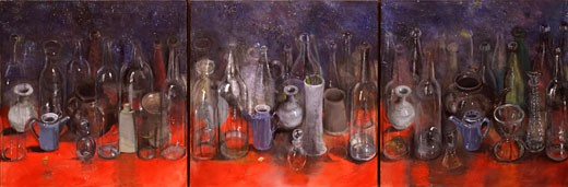 Stock Photo: 260-1029 Still life with bottles II by Jim Dine, born 1935
