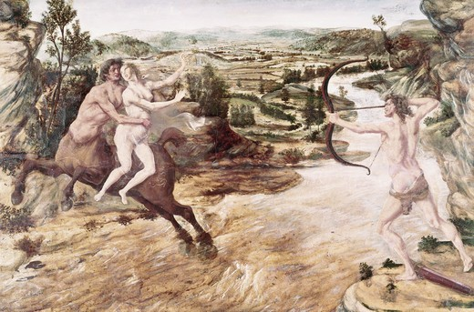 Stock Photo: 260-1052 Abduction of Deianira by Pollaiuolo, 15th century