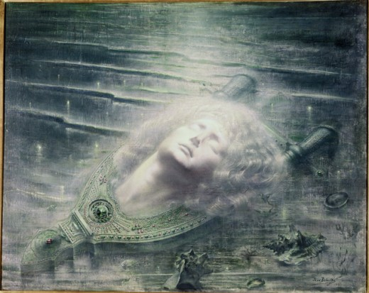 Stock Photo: 260-1223 Orpheus by Jean Delville, oil on canvas, 1893, 1867-1953, Private Collection