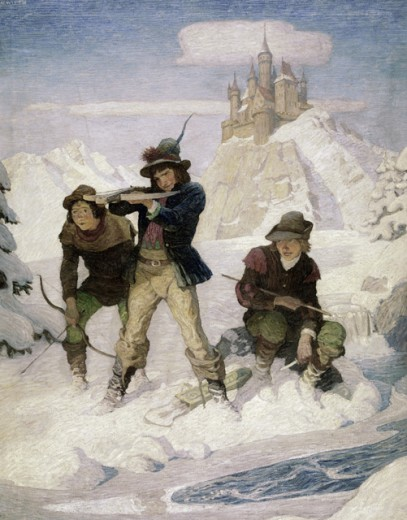 Stock Photo: 260-1301 Eseldorf Was a Paradise For US Boys by Newell Convers Wyeth, oil on canvas, circa 1916, 1882-1945, Pennsylvania, Chadds Ford, Brandywine River Museum