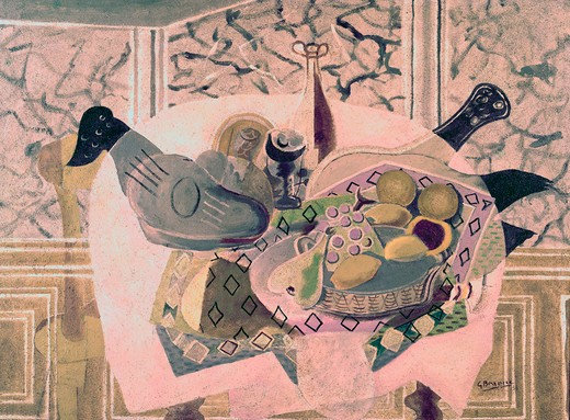 Stock Photo: 260-1371 Mauve Table Cloth by Georges Braque, oil on canvas, 1882-1963