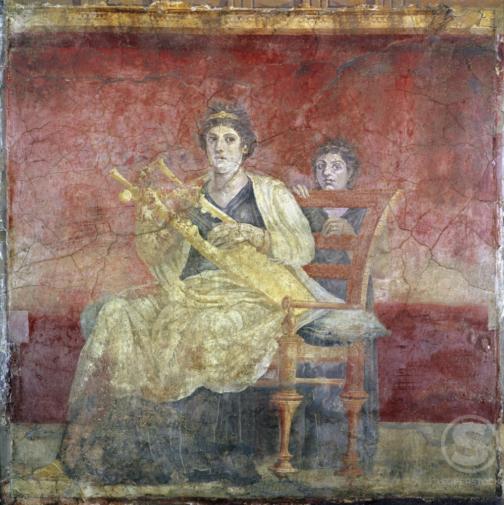 Stock Photo: 260-139 Lady Playing the Kithara (From Boscoreale Villa, Pompeii) ca. 50 BCE Roman Art Fresco