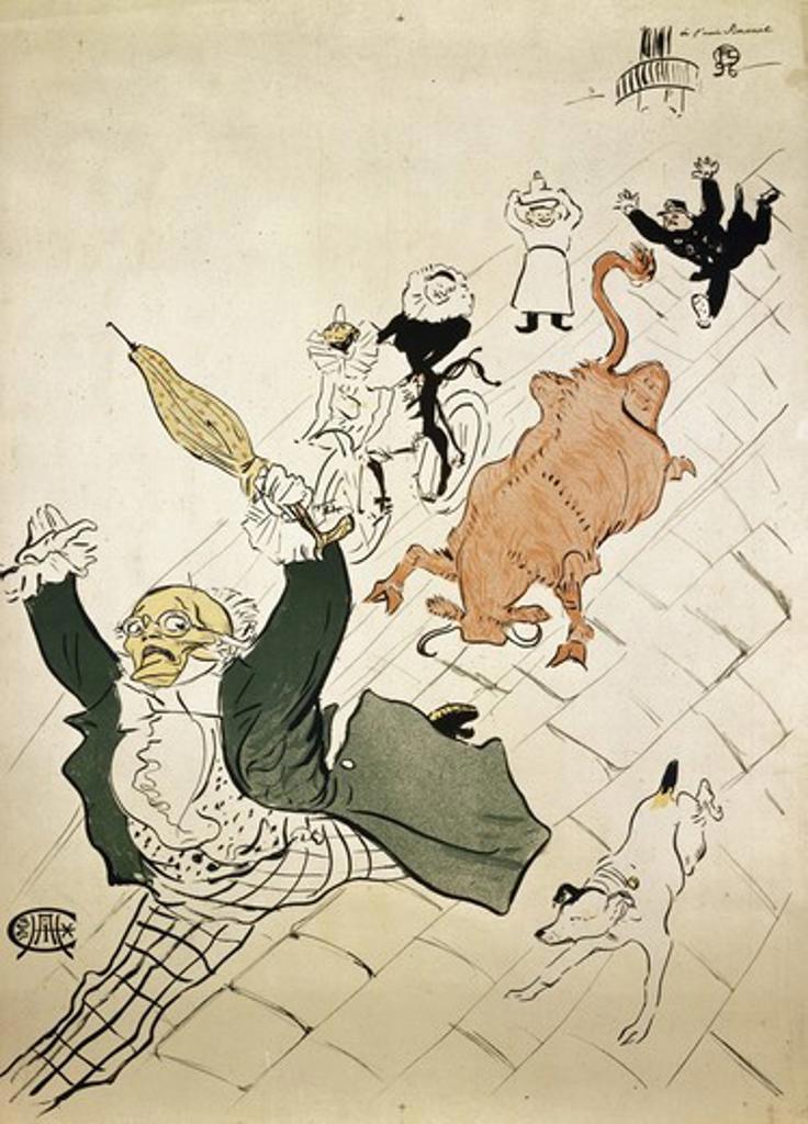 La Vache Enragee Henri de Toulouse-Lautrec (1864-1901 French) Lithograph Private Collection  : Stock Photo