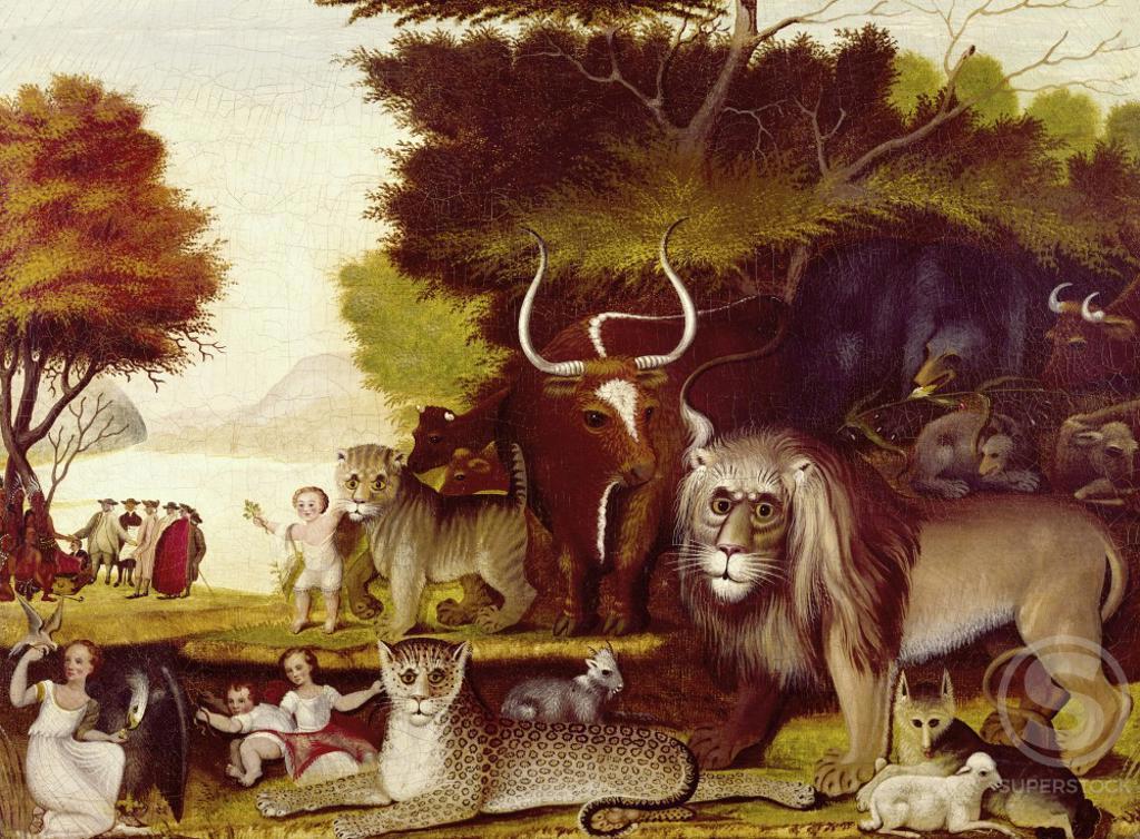 Stock Photo: 260-294 The Peaceable Kingdom  Edward Hicks (1780-1849/American)  Oil on canvas Philadelphia Museum of Art, Pennsylvania
