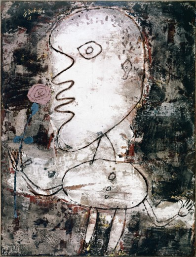 Stock Photo: 260-355 Man with Rose by Jean Dubuffet, distemper on canvas, 1949, 1901-1985