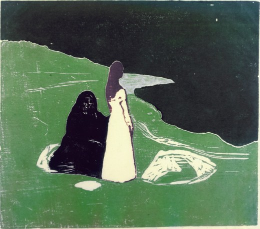 Stock Photo: 260-395 Women on Shore by Edvard Munch, woodcut print, 1898, 1863-1944, Norway, Oslo, Kaare Berntsen Galleri