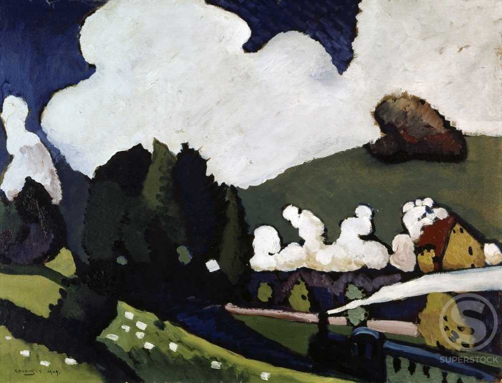 Stock Photo: 260-411 Landscape near Murnau by Vasily Kandinsky, 1909, 1866-1944