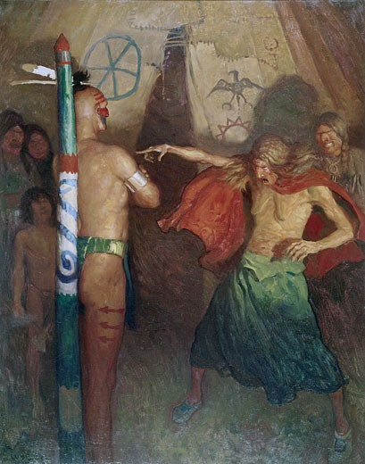 Stock Photo: 260-423 Termagant from Last of the Mohicans by Newell Convers Wyeth, oil on canvas, 1919, 1882-1945, USA, Pennsylvania, Chadds Ford, Brandywine River Museum
