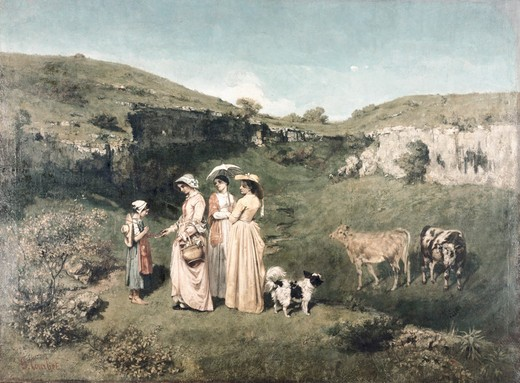 Stock Photo: 260-463 USA, New York, Metropolitan Museum of Art., Les Demoiselles Du Village by Gustave Courbet, (1819-1877), 1851,