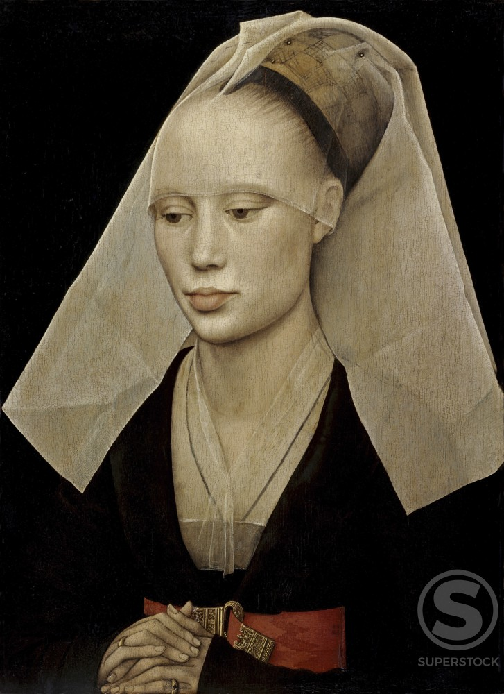 Stock Photo: 260-478 Portrait of a Lady c. 1455 Rogier van der Weyden (ca.1399-1464 Netherlandish) Oil on Wood Panel National Gallery of Art, Washington, DC