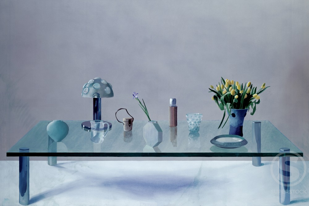 Still life: glass table by David Hockney, born 1937 : Stock Photo