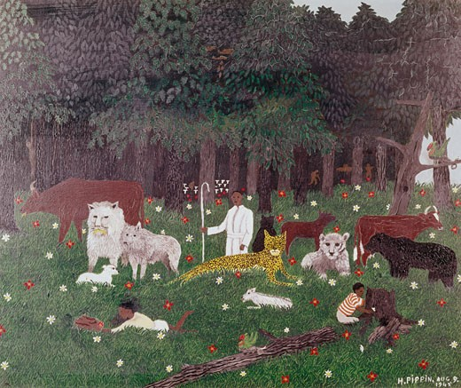 Stock Photo: 260-509 Holy mountain III by Horace Pippin, oil on canvas, 1945, 1888-1946, Private Collection
