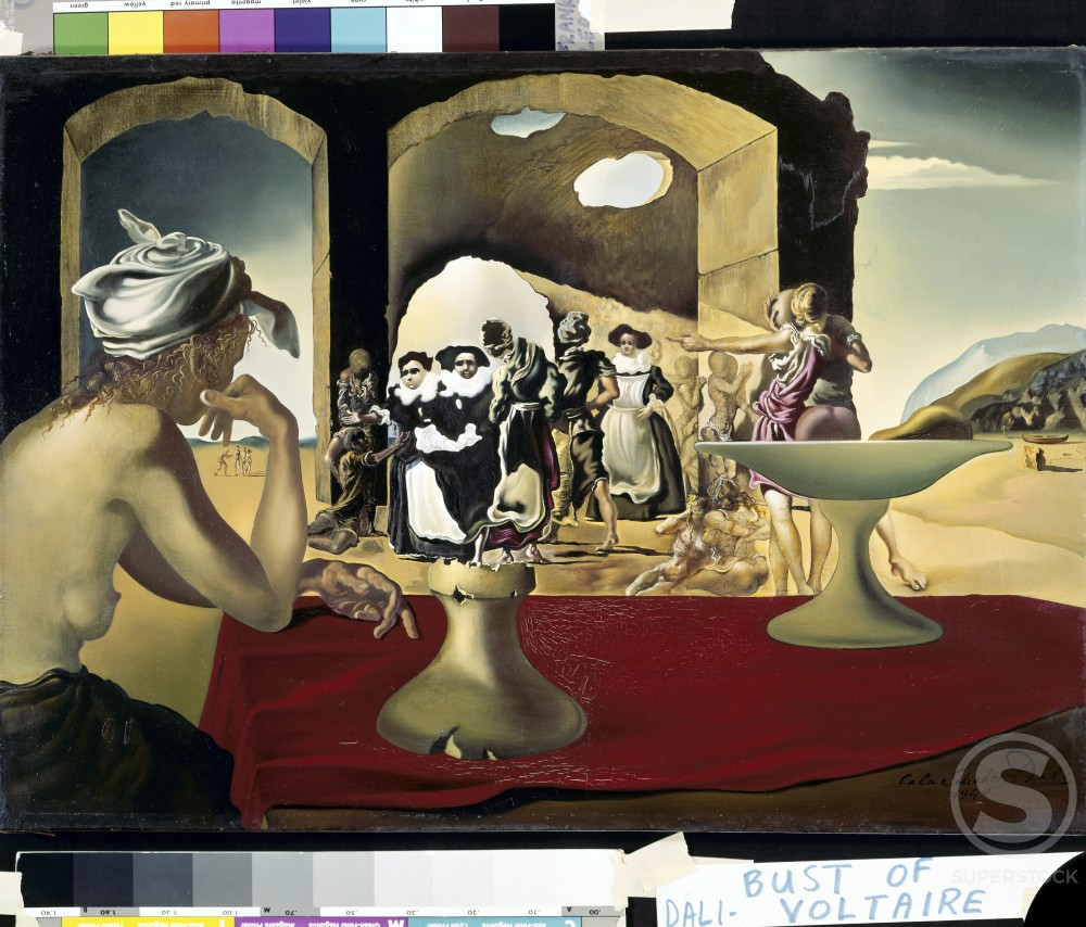 Stock Photo: 260-648 Slave market with bust of Voltaire by Salvador Dali, oil on canvas, 1940-41, 1904-1989, USA, Florida, St. Petersburg, Salvador Dali Museum