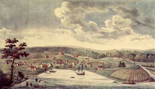 Baltimore, 1752 1817 by William Strickland (1788-1854) From a Sketch by John Moale : Stock Photo