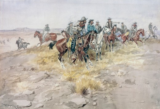 Title Unknown (Cowboys) Charles Marion Russell (1864-1926 American) : Stock Photo
