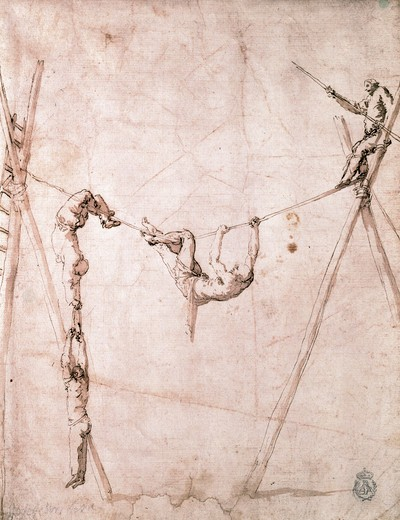 Acrobats on Loose Wire by Jusepe De Ribera, 1591-1652 : Stock Photo