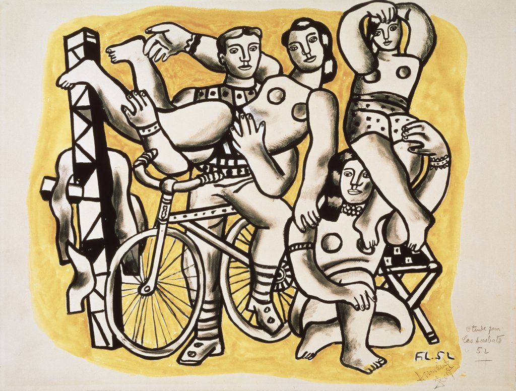 Stock Photo: 261-141 The Acrobats by Fernand Leger, oil on canvas, 1952, 1881-1955, Russia, Moscow, Pushkin Museum of Fine Arts