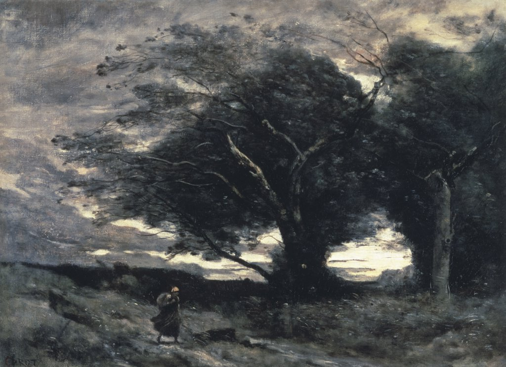 Stock Photo: 261-144 The Wind Jean-Baptiste-Camille Corot (1796-1875 French) Oil On Canvas Pushkin Museum of Fine Arts, Moscow, Russia