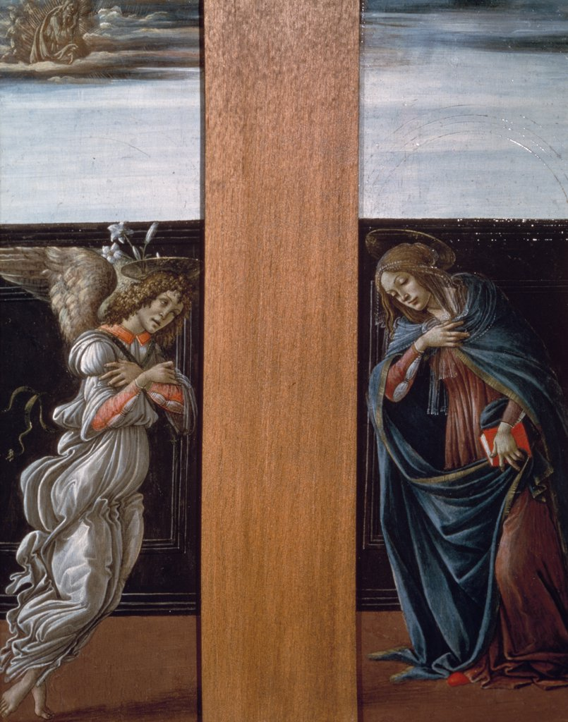 Stock Photo: 261-149 The Annunciation by Sandro Boticelli, tempera/wood panel, 1495, 1444-1510, Russia, Moscow, Pushkin Museum of Fine Arts