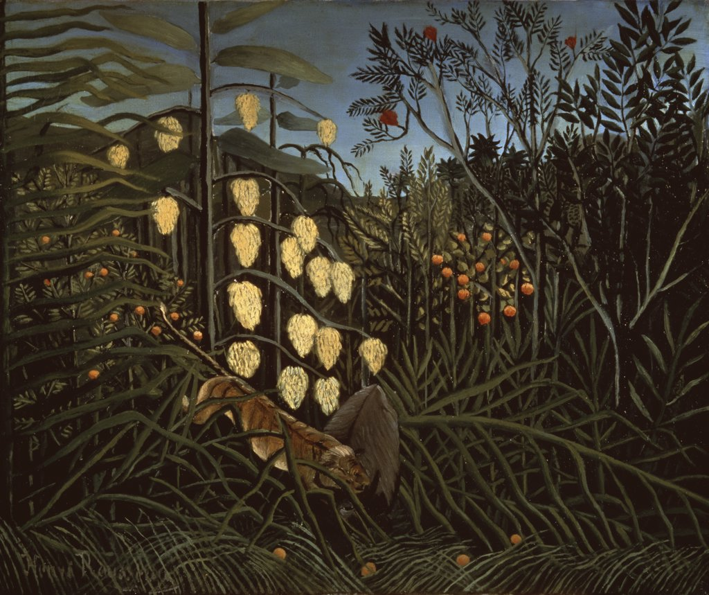 Stock Photo: 261-152 Tropical Forest: Battling Tiger & Bull 1908 Henri Rousseau (1844-1910 French) Oil On Canvas State Hermitage Museum, St. Petersburg, Russia