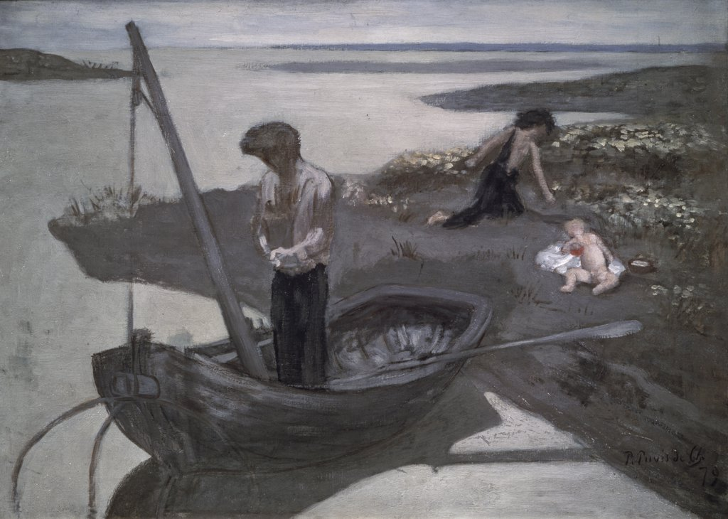 The Poor Fisherman 1879 Pierre Puvis de Chavannes (1824-1898 French) Oil On Canvas Pushkin Museum of Fine Arts, Moscow, Russia : Stock Photo