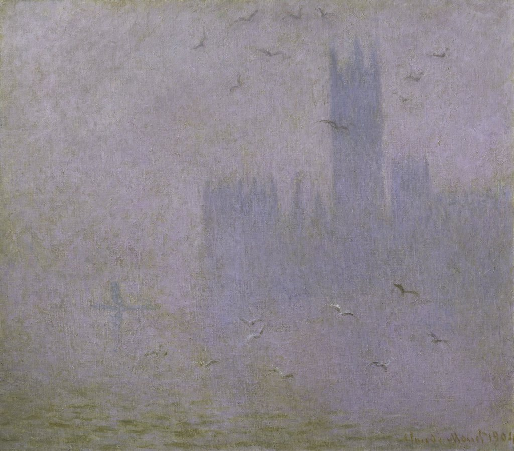 Seagulls (The River Thames & Houses of Parliament, London)