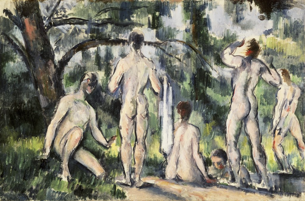 Stock Photo: 261-187 The Bathers 1892-1894 Paul Cezanne (1839-1906 French) Oil on canvas Pushkin Museum of Fine Arts, Moscow, Russia