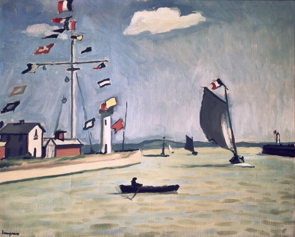 The Harbor of Honfleur by Albert Marquet, oil on canvas, 1875-1947, Russia, St. Petersburg, Hermitage Museum : Stock Photo