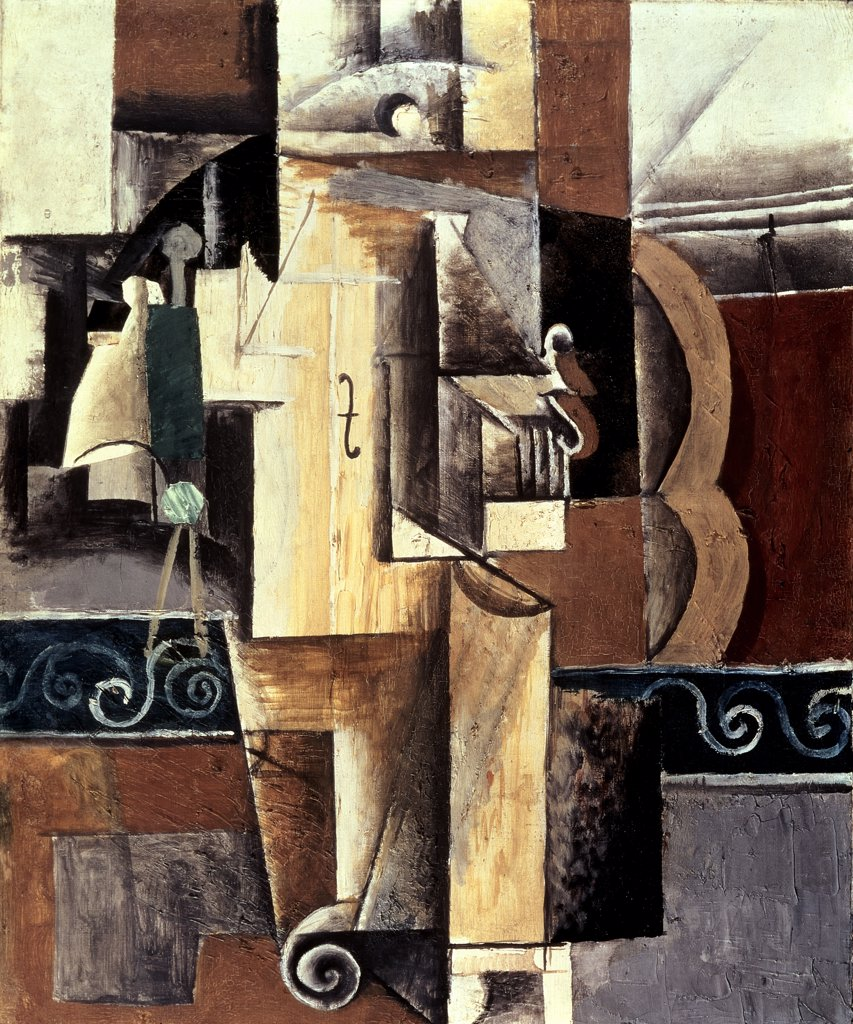 Stock Photo: 261-209 Violin and Guitar by Pablo Picasso, oil on canvas, 1913, 1881-1973, Russia, St. Petersburg, Hermitage Museum