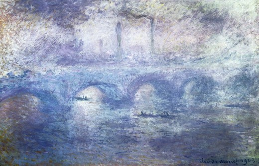 The Waterloo Bridge, Effect of Fog 1903 Claude Monet (1840-1926 French) Oil on canvas State Hermitage Museum, St. Petersburg, Russia : Stock Photo