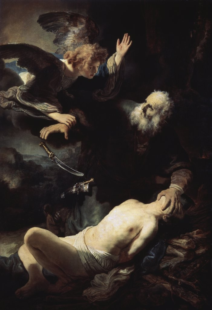 Abraham's Sacrifice 1635 Rembrandt Harmensz van Rijn (1606-1669 Dutch) Painting State Hermitage Museum, St. Petersburg, Russia : Stock Photo